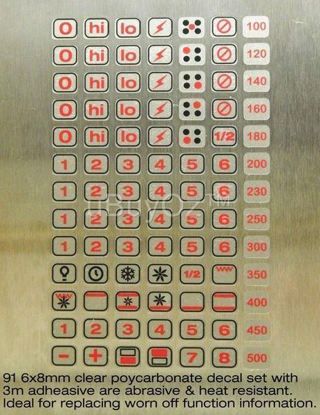 Universal Oven Cooktop 3m Decal Sticker Set Ask Us For